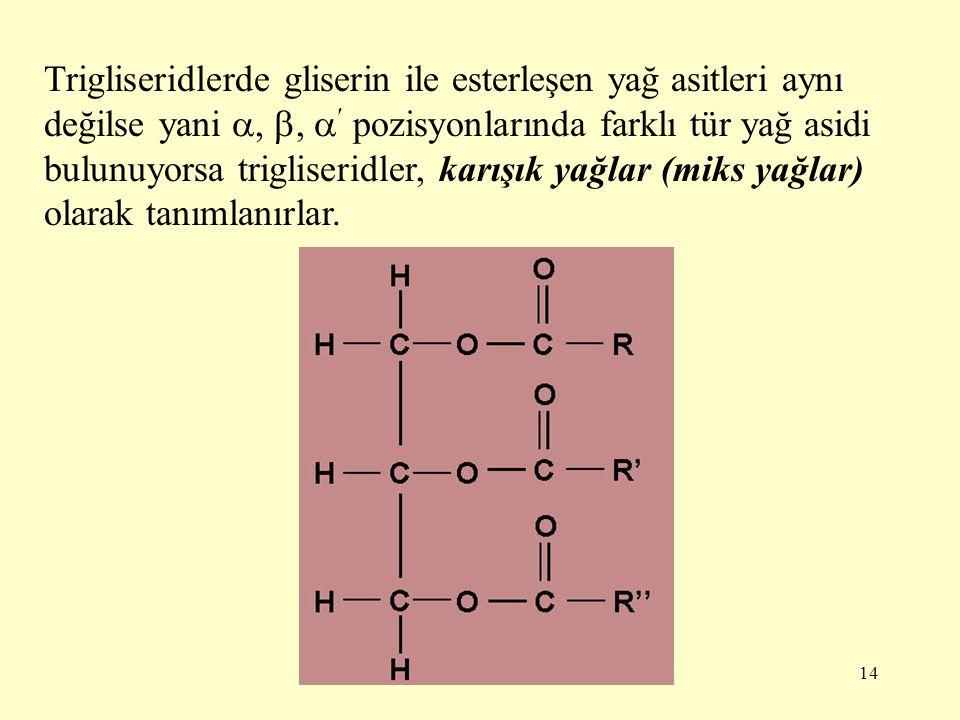 14 Trigliseridlerde gliserin ile esterleşen yağ asitleri aynı değilse yani , ,  pozisyonlarında farklı tür yağ asidi bulunuyorsa trigliseridler, ka