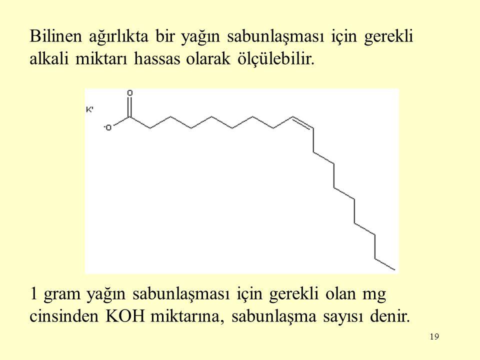 19 Bilinen ağırlıkta bir yağın sabunlaşması için gerekli alkali miktarı hassas olarak ölçülebilir. 1 gram yağın sabunlaşması için gerekli olan mg cins