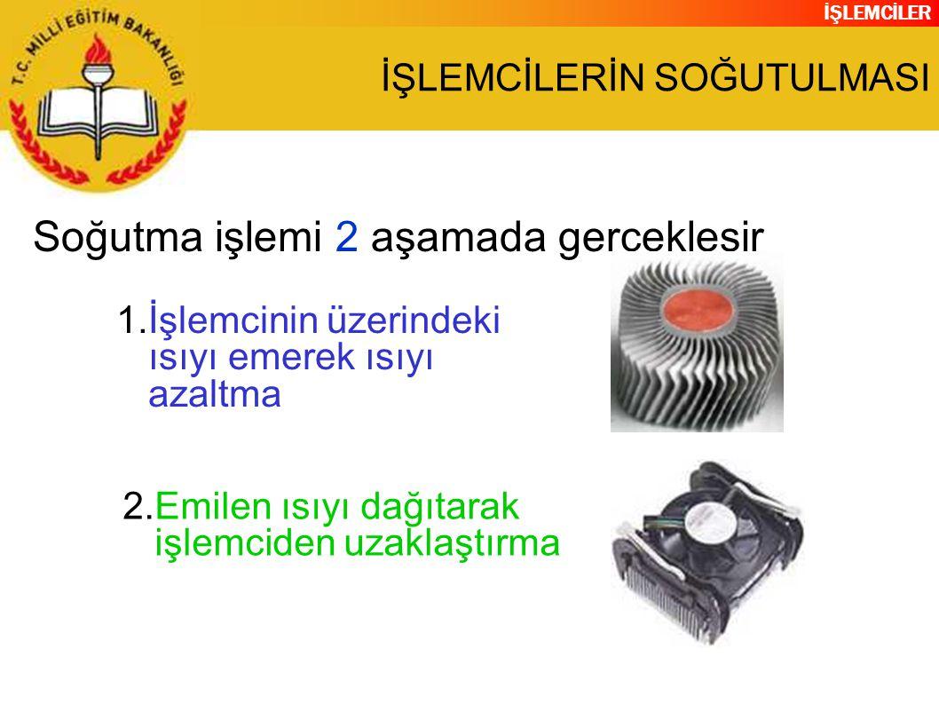İŞLEMCİLER İŞLEMCİLERİN SOĞUTULMASI Soğutma işlemi 2 aşamada gerçekleşir 1.İşlemcinin üzerindeki ısıyı emerek ısıyı azaltma 2.Emilen ısıyı dağıtarak işlemciden uzaklaştırma