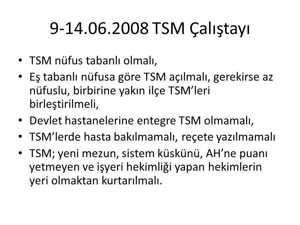 9-14.06.2008 TSM Çalıştayı TSM nüfus tabanlı olmalı, Eş tabanlı nüfusa göre TSM açılmalı, gerekirse az nüfuslu, birbirine yakın ilçe TSM'leri birleşti