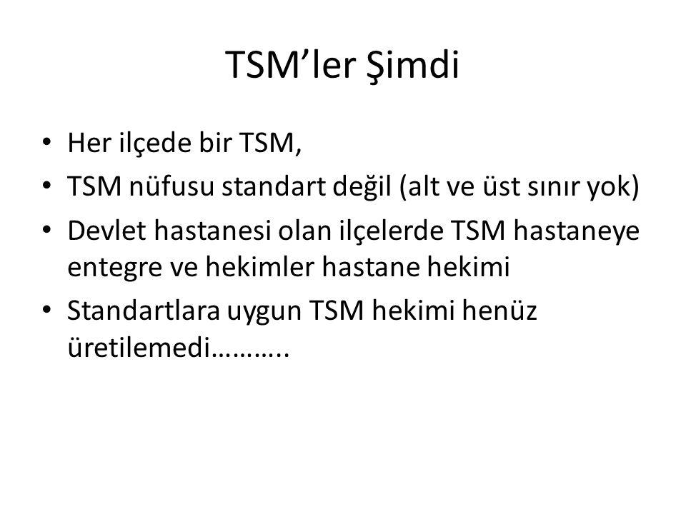 TSM'ler Şimdi Her ilçede bir TSM, TSM nüfusu standart değil (alt ve üst sınır yok) Devlet hastanesi olan ilçelerde TSM hastaneye entegre ve hekimler h