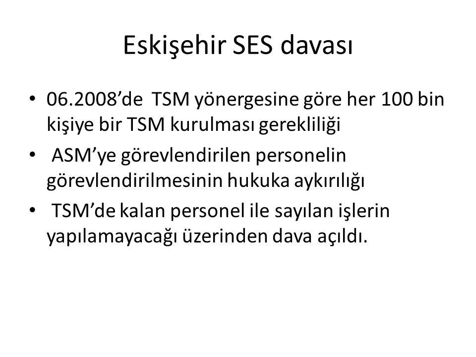 Eskişehir SES davası 06.2008'de TSM yönergesine göre her 100 bin kişiye bir TSM kurulması gerekliliği ASM'ye görevlendirilen personelin görevlendirilm