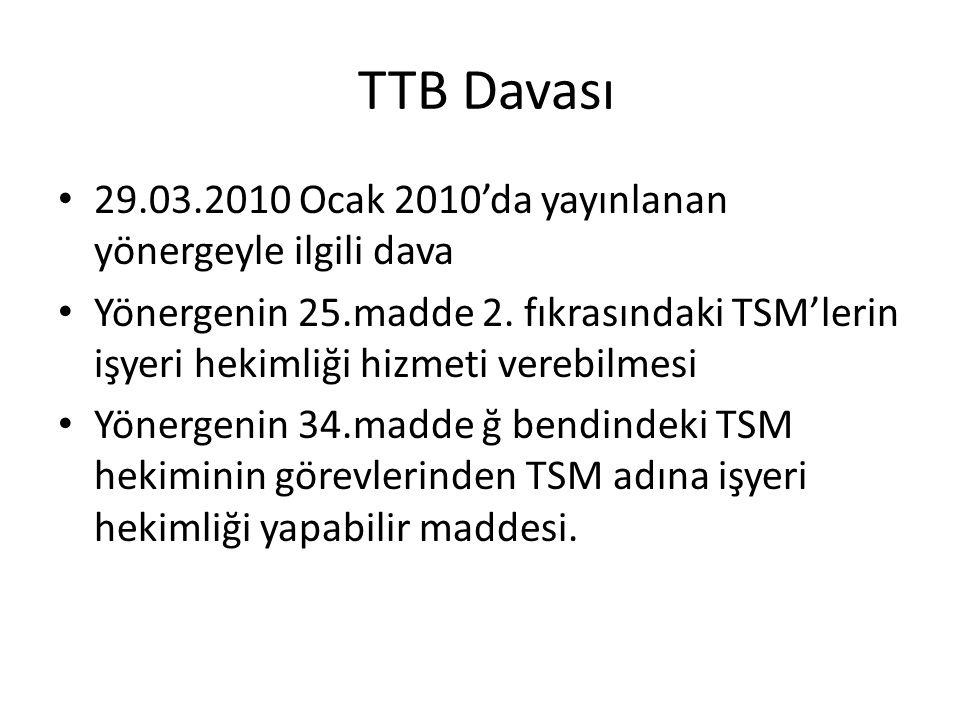 TTB Davası 29.03.2010 Ocak 2010'da yayınlanan yönergeyle ilgili dava Yönergenin 25.madde 2. fıkrasındaki TSM'lerin işyeri hekimliği hizmeti verebilmes