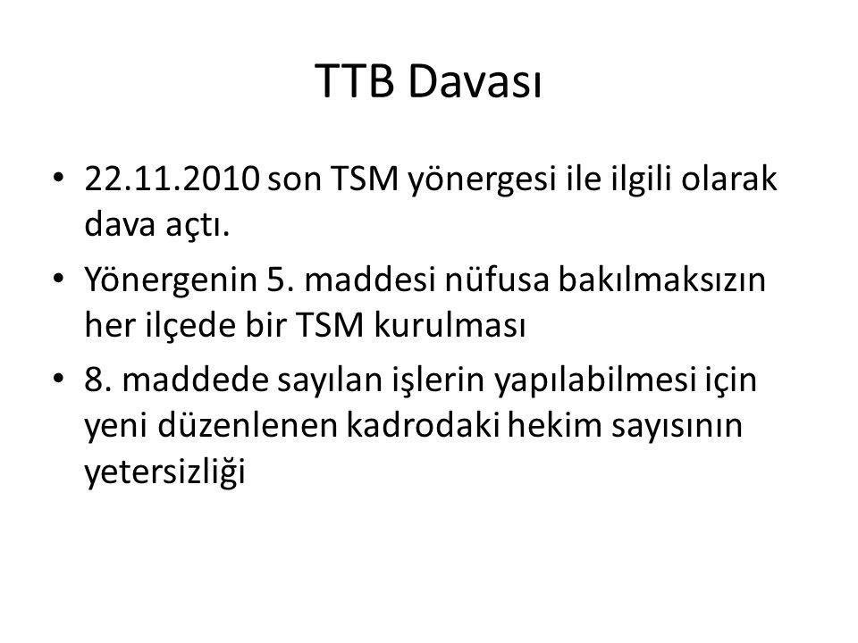 TTB Davası 22.11.2010 son TSM yönergesi ile ilgili olarak dava açtı. Yönergenin 5. maddesi nüfusa bakılmaksızın her ilçede bir TSM kurulması 8. madded