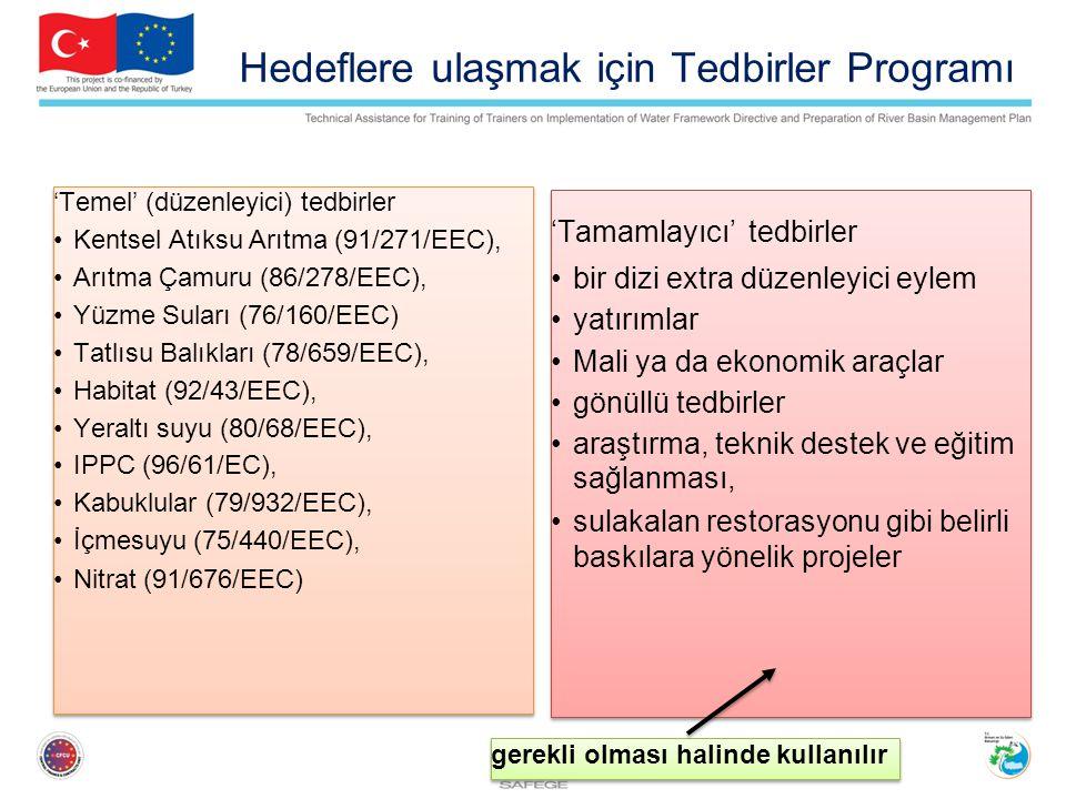 Hedeflere ulaşmak için Tedbirler Programı 'Temel' (düzenleyici) tedbirler Kentsel Atıksu Arıtma (91/271/EEC), Arıtma Çamuru (86/278/EEC), Yüzme Suları (76/160/EEC) Tatlısu Balıkları (78/659/EEC), Habitat (92/43/EEC), Yeraltı suyu (80/68/EEC), IPPC (96/61/EC), Kabuklular (79/932/EEC), İçmesuyu (75/440/EEC), Nitrat (91/676/EEC) 'Temel' (düzenleyici) tedbirler Kentsel Atıksu Arıtma (91/271/EEC), Arıtma Çamuru (86/278/EEC), Yüzme Suları (76/160/EEC) Tatlısu Balıkları (78/659/EEC), Habitat (92/43/EEC), Yeraltı suyu (80/68/EEC), IPPC (96/61/EC), Kabuklular (79/932/EEC), İçmesuyu (75/440/EEC), Nitrat (91/676/EEC) 'Tamamlayıcı' tedbirler bir dizi extra düzenleyici eylem yatırımlar Mali ya da ekonomik araçlar gönüllü tedbirler araştırma, teknik destek ve eğitim sağlanması, sulakalan restorasyonu gibi belirli baskılara yönelik projeler 'Tamamlayıcı' tedbirler bir dizi extra düzenleyici eylem yatırımlar Mali ya da ekonomik araçlar gönüllü tedbirler araştırma, teknik destek ve eğitim sağlanması, sulakalan restorasyonu gibi belirli baskılara yönelik projeler gerekli olması halinde kullanılır