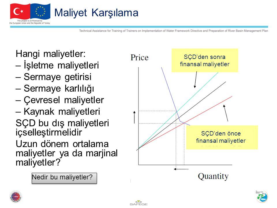 Maliyet Karşılama Hangi maliyetler: – İşletme maliyetleri – Sermaye getirisi – Sermaye karlılığı – Çevresel maliyetler – Kaynak maliyetleri SÇD bu dış maliyetleri içselleştirmelidir Uzun dönem ortalama maliyetler ya da marjinal maliyetler.