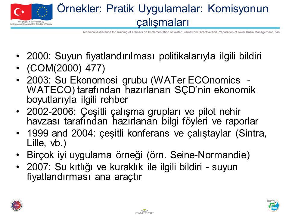 Örnekler: Pratik Uygulamalar: Komisyonun çalışmaları 2000: Suyun fiyatlandırılması politikalarıyla ilgili bildiri (COM(2000) 477) 2003: Su Ekonomosi grubu (WATer ECOnomics - WATECO) tarafından hazırlanan SÇD'nin ekonomik boyutlarıyla ilgili rehber 2002-2006: Çeşitli çalışma grupları ve pilot nehir havzası tarafından hazırlanan bilgi föyleri ve raporlar 1999 and 2004: çeşitli konferans ve çalıştaylar (Sintra, Lille, vb.) Birçok iyi uygulama örneği (örn.