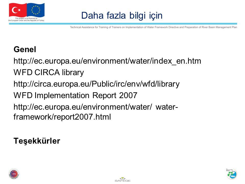 Daha fazla bilgi için Genel http://ec.europa.eu/environment/water/index_en.htm WFD CIRCA library http://circa.europa.eu/Public/irc/env/wfd/library WFD Implementation Report 2007 http://ec.europa.eu/environment/water/ water- framework/report2007.html Teşekkürler