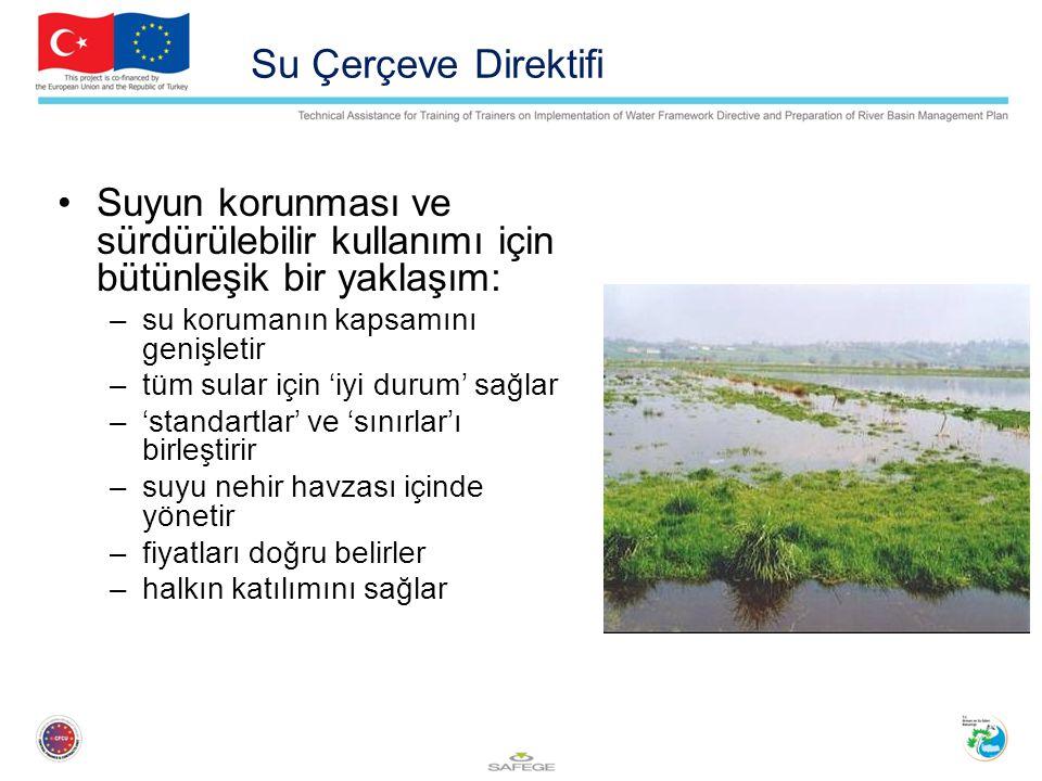 Su Çerçeve Direktifi Suyun korunması ve sürdürülebilir kullanımı için bütünleşik bir yaklaşım: –su korumanın kapsamını genişletir –tüm sular için 'iyi durum' sağlar –'standartlar' ve 'sınırlar'ı birleştirir –suyu nehir havzası içinde yönetir –fiyatları doğru belirler –halkın katılımını sağlar