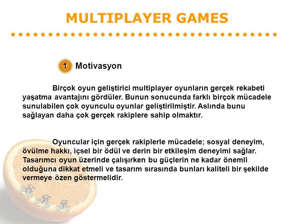 MULTIPLAYER GAMES Motivasyon 1 Birçok oyun geliştirici multiplayer oyunların gerçek rekabeti yaşatma avantajını gördüler. Bunun sonucunda farklı birço