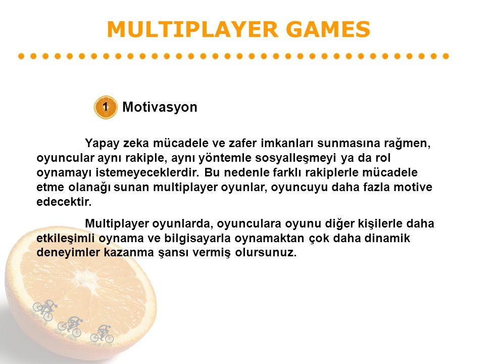 MULTIPLAYER GAMES Motivasyon 1 Yapay zeka mücadele ve zafer imkanları sunmasına rağmen, oyuncular aynı rakiple, aynı yöntemle sosyalleşmeyi ya da rol oynamayı istemeyeceklerdir.