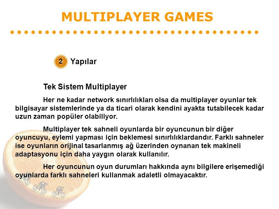 MULTIPLAYER GAMES Yapılar 2 Tek Sistem Multiplayer Her ne kadar network sınırlılıkları olsa da multiplayer oyunlar tek bilgisayar sistemlerinde ya da