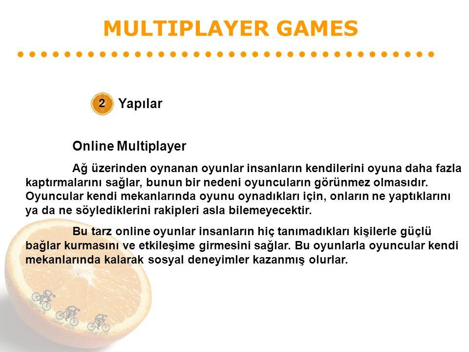 MULTIPLAYER GAMES Yapılar 2 Online Multiplayer Ağ üzerinden oynanan oyunlar insanların kendilerini oyuna daha fazla kaptırmalarını sağlar, bunun bir n