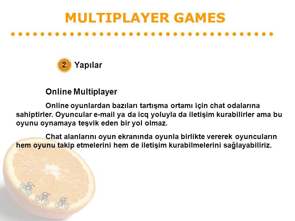 MULTIPLAYER GAMES Yapılar 2 Online Multiplayer Online oyunlardan bazıları tartışma ortamı için chat odalarına sahiptirler. Oyuncular e-mail ya da icq