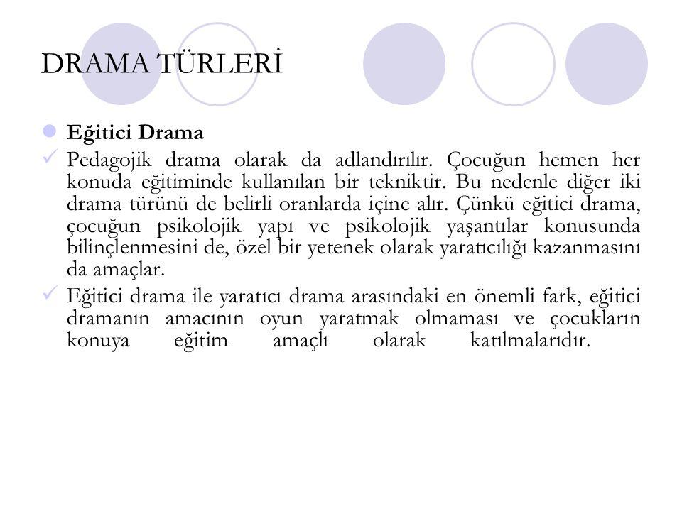 DRAMA TÜRLERİ Eğitici Drama Pedagojik drama olarak da adlandırılır. Çocuğun hemen her konuda eğitiminde kullanılan bir tekniktir. Bu nedenle diğer iki
