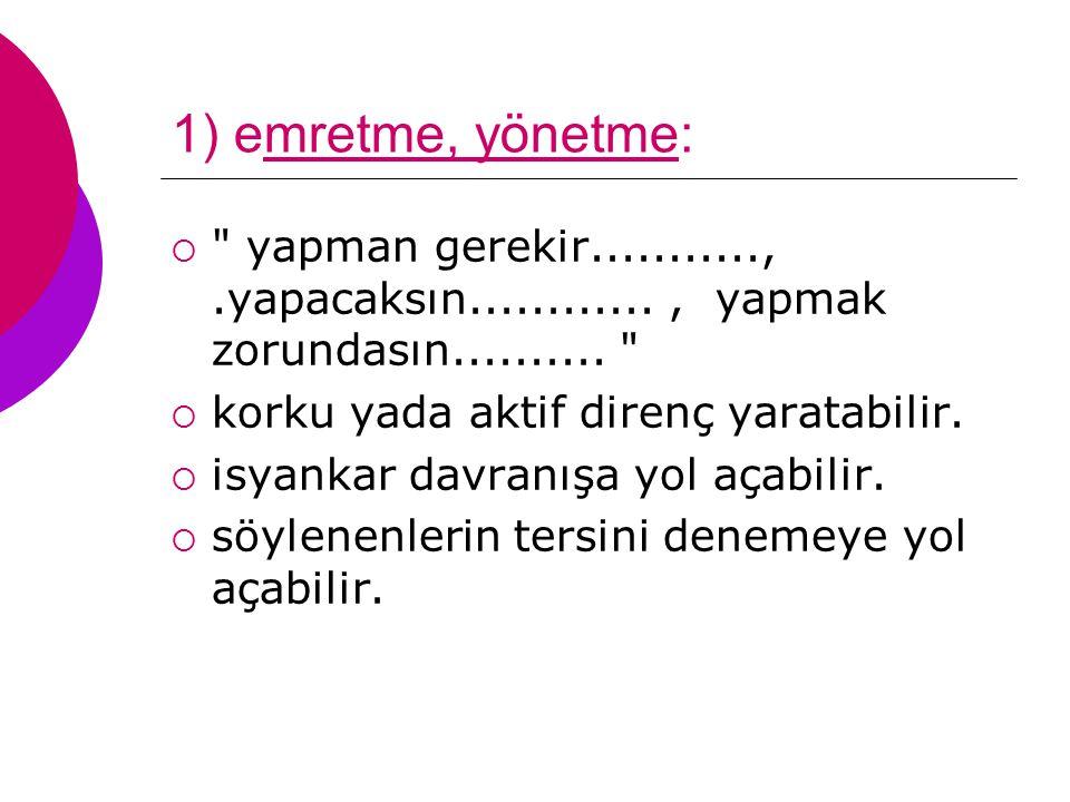 1) emretme, yönetme: 