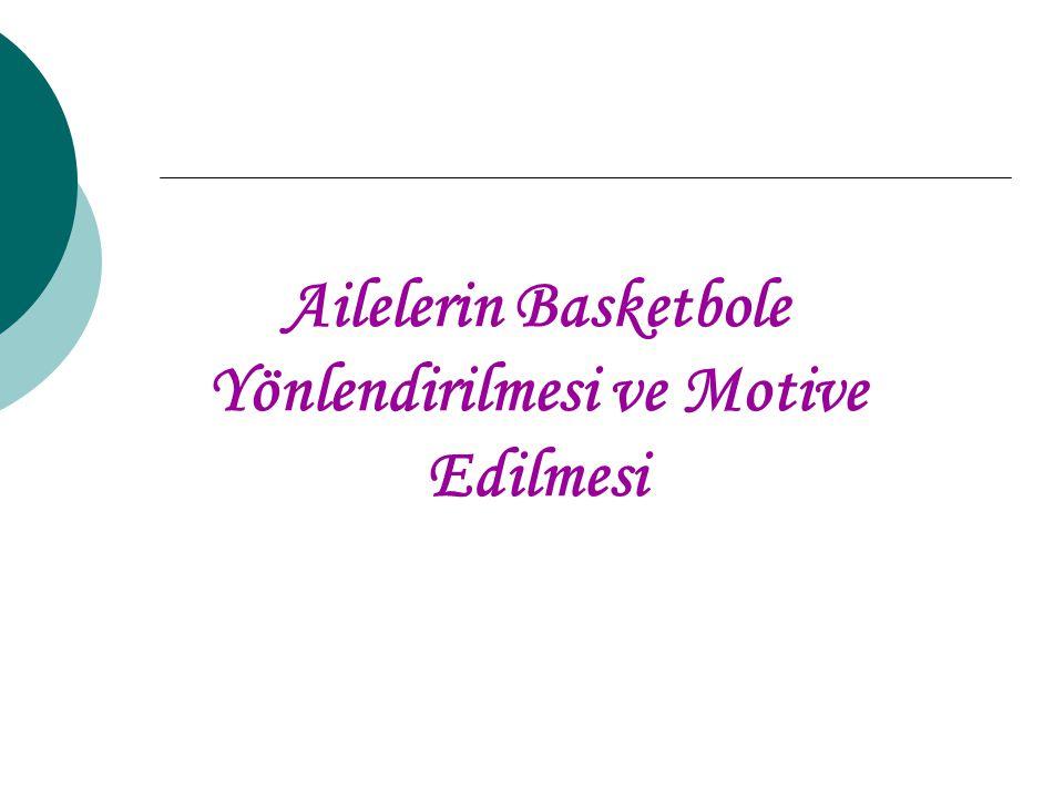 Aileleri Basketbole Yönlendirmek -4 Yazın sokak basketbolü gibi turnuvalara ailelerle beraber katılım sağlanarak; tatil ve spor organizasyonları gerçekleştirilebilir.