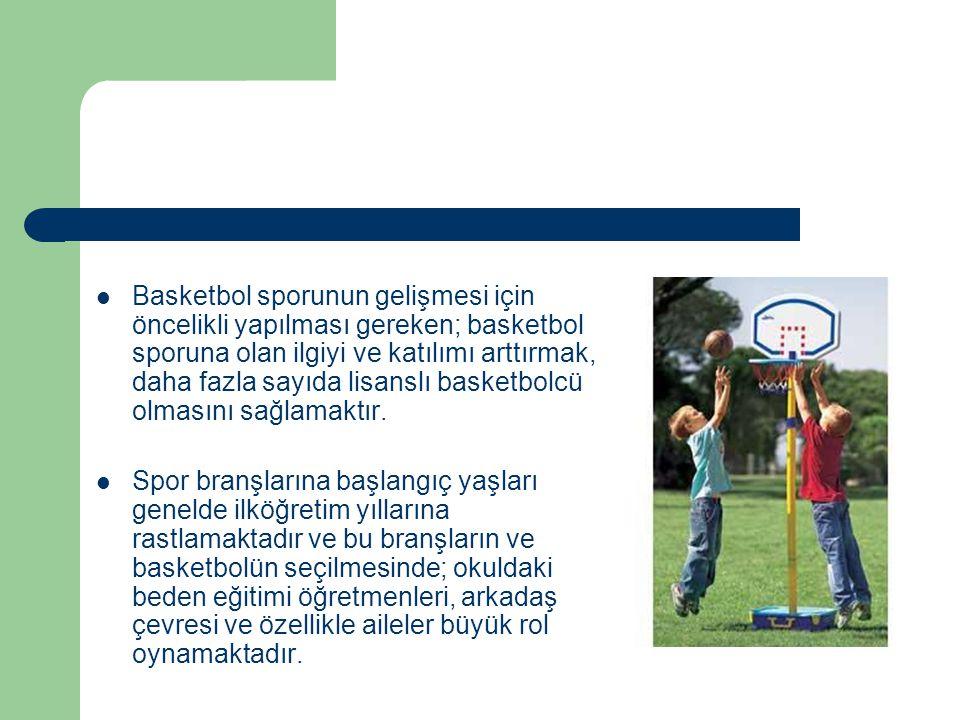 SONUÇ 1.Basketbolün altyapısının en önemli kaynağı tartışmasız okullardır.