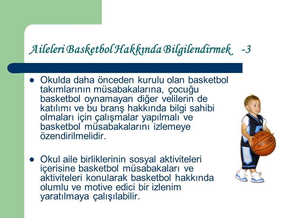 Aileleri Basketbole Yönlendirmek -1 Okuldaki antrenmanlara velilerin izleyici olarak katılımı sağlanabilir.