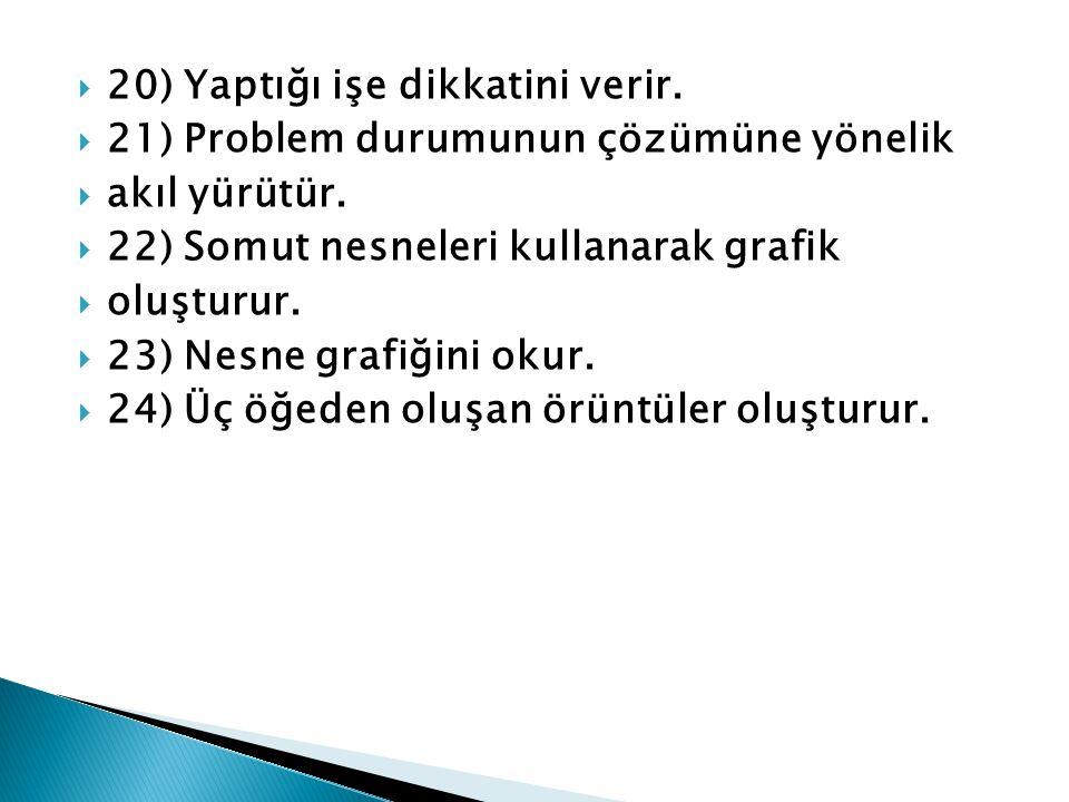  20) Yaptığı işe dikkatini verir.  21) Problem durumunun çözümüne yönelik  akıl yürütür.  22) Somut nesneleri kullanarak grafik  oluşturur.  23)