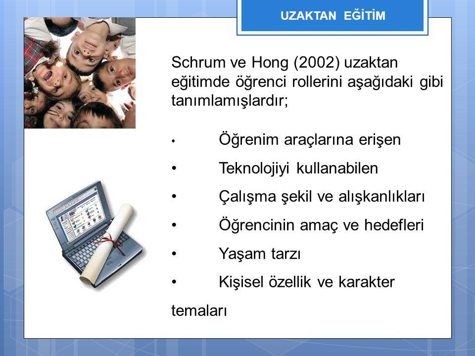 Schrum ve Hong (2002) uzaktan eğitimde öğrenci rollerini aşağıdaki gibi tanımlamışlardır; Öğrenim araçlarına erişen Teknolojiyi kullanabilen Çalışma ş