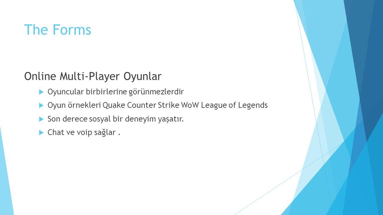 The Forms Online Multi-Player Oyunlar  Oyuncular birbirlerine görünmezlerdir  Oyun örnekleri Quake Counter Strike WoW League of Legends  Son derece sosyal bir deneyim yaşatır.