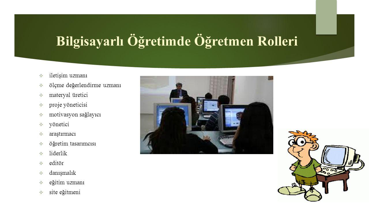 Bilgisayarlı Öğretimde Öğretmen Rolleri  iletişim uzmanı  ölçme değerlendirme uzmanı  materyal üretici  proje yöneticisi  motivasyon sağlayıcı 