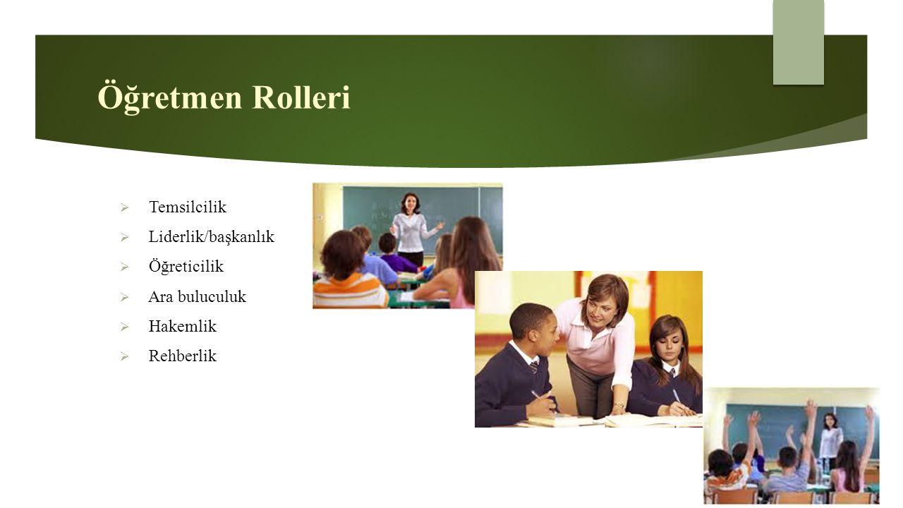 Öğretmen Rolleri  Temsilcilik  Liderlik/başkanlık  Öğreticilik  Ara buluculuk  Hakemlik  Rehberlik