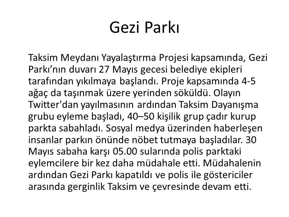 Gezi Parkı Taksim Meydanı Yayalaştırma Projesi kapsamında, Gezi Parkı'nın duvarı 27 Mayıs gecesi belediye ekipleri tarafından yıkılmaya başlandı. Proj