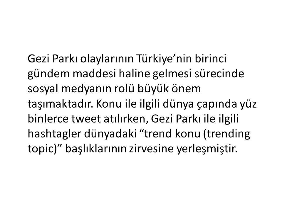 Gezi Parkı olaylarının Türkiye'nin birinci gündem maddesi haline gelmesi sürecinde sosyal medyanın rolü büyük önem taşımaktadır. Konu ile ilgili dünya