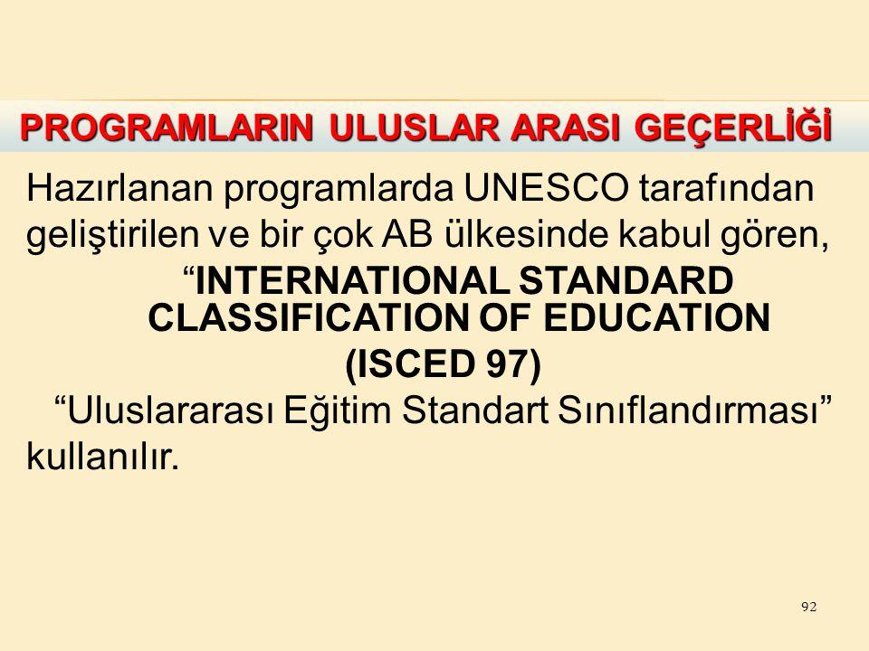 """92 Hazırlanan programlarda UNESCO tarafından geliştirilen ve bir çok AB ülkesinde kabul gören, """"INTERNATIONAL STANDARD CLASSIFICATION OF EDUCATION (IS"""
