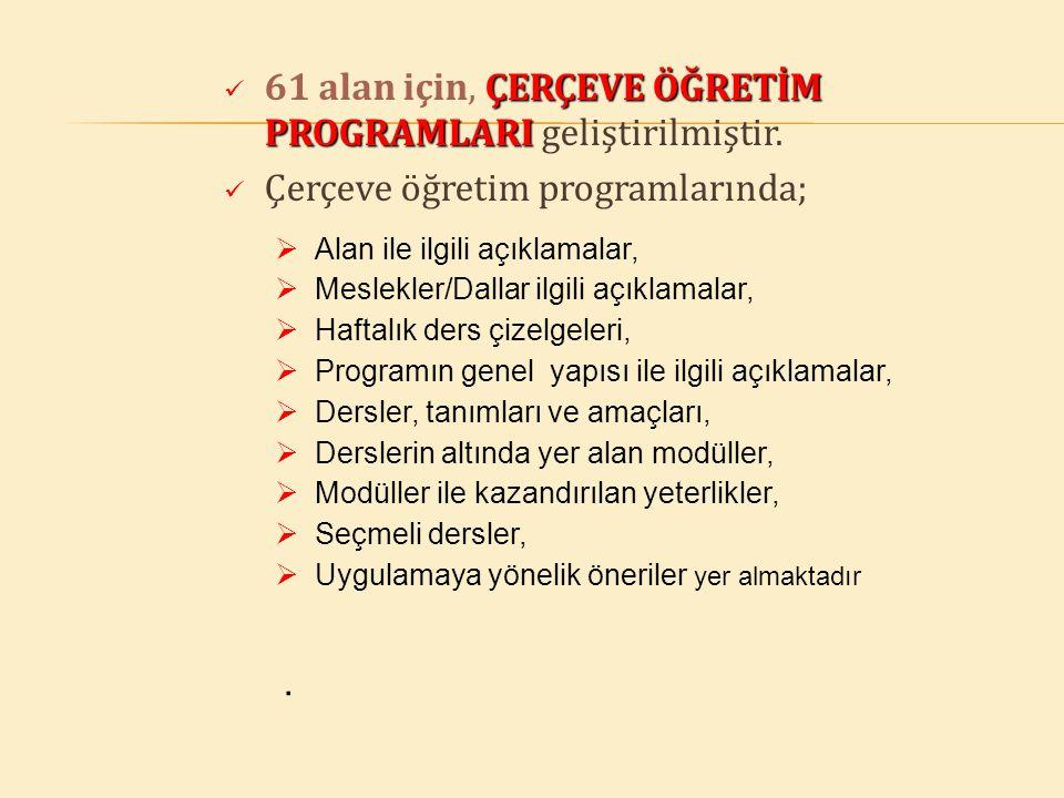 ÇERÇEVE ÖĞRETİM PROGRAMLARI 61 alan için, ÇERÇEVE ÖĞRETİM PROGRAMLARI geliştirilmiştir. Çerçeve öğretim programlarında;  Alan ile ilgili açıklamalar,