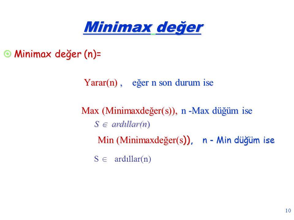 10 Minimax değer  Minimax değer (n)= Yarar(n), eğer n son durum ise Yarar(n), eğer n son durum ise Max (Minimaxdeğer(s)), n -Max düğüm ise Max (Minim