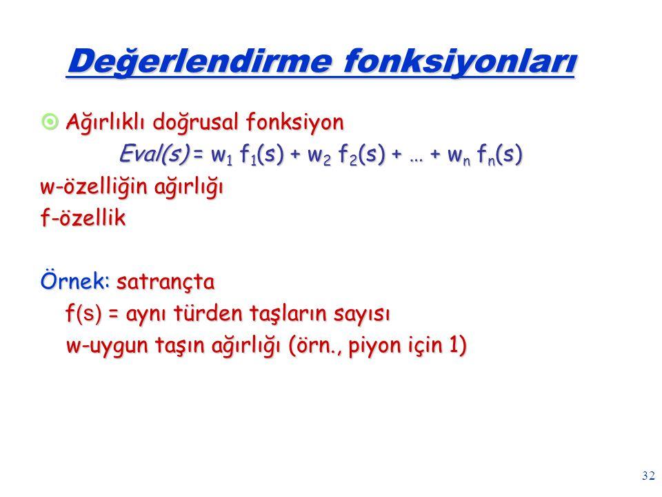 32 Değerlendirme fonksiyonları  Ağırlıklı doğrusal fonksiyon Eval(s) = w 1 f 1 (s) + w 2 f 2 (s) + … + w n f n (s) w-özelliğin ağırlığı f-özellik Örn