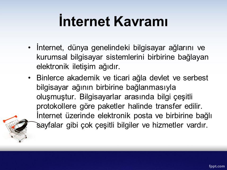 İnternet Kavramı İnternet, dünya genelindeki bilgisayar ağlarını ve kurumsal bilgisayar sistemlerini birbirine bağlayan elektronik iletişim ağıdır. Bi