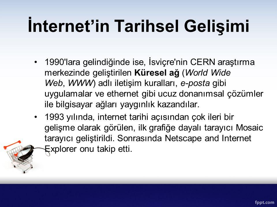 1990'lara gelindiğinde ise, İsviçre'nin CERN araştırma merkezinde geliştirilen Küresel ağ (World Wide Web, WWW) adlı iletişim kuralları, e-posta gibi