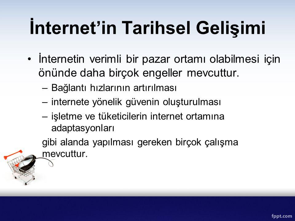 İnternet'in Tarihsel Gelişimi İnternetin verimli bir pazar ortamı olabilmesi için önünde daha birçok engeller mevcuttur. –Bağlantı hızlarının artırılm