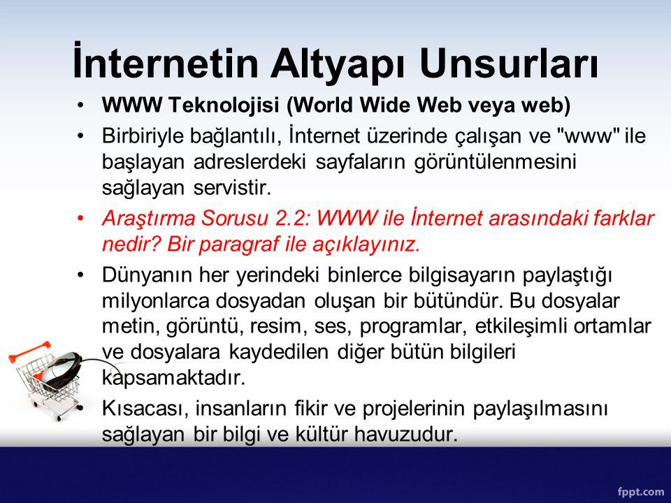 İnternetin Altyapı Unsurları WWW Teknolojisi (World Wide Web veya web) Birbiriyle bağlantılı, İnternet üzerinde çalışan ve