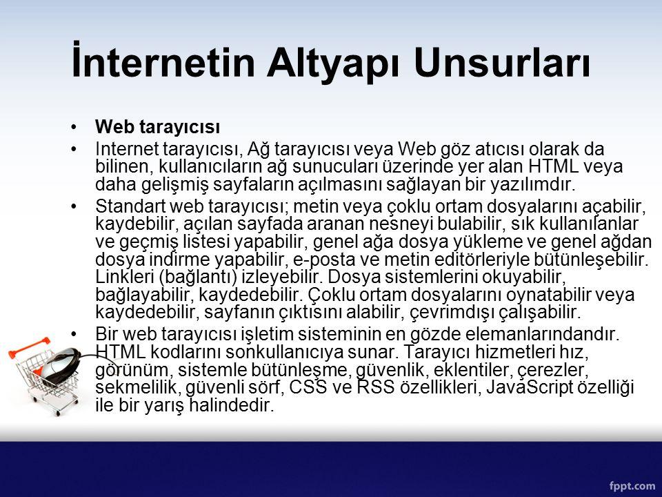 İnternetin Altyapı Unsurları Web tarayıcısı Internet tarayıcısı, Ağ tarayıcısı veya Web göz atıcısı olarak da bilinen, kullanıcıların ağ sunucuları üz