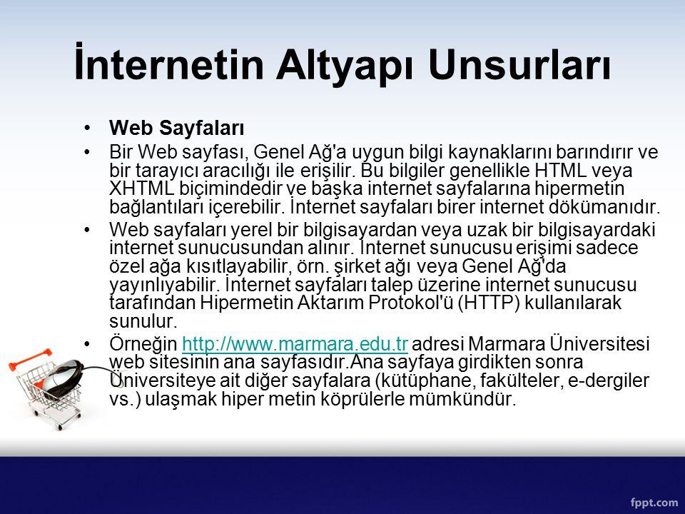 İnternetin Altyapı Unsurları Web Sayfaları Bir Web sayfası, Genel Ağ'a uygun bilgi kaynaklarını barındırır ve bir tarayıcı aracılığı ile erişilir. Bu