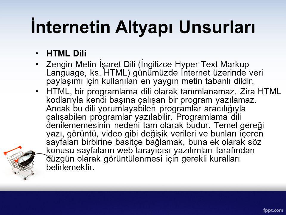 İnternetin Altyapı Unsurları HTML Dili Zengin Metin İşaret Dili (İngilizce Hyper Text Markup Language, ks. HTML) günümüzde İnternet üzerinde veri payl