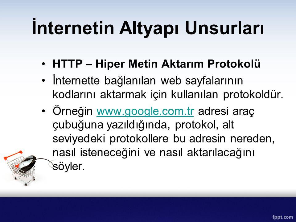İnternetin Altyapı Unsurları HTTP – Hiper Metin Aktarım Protokolü İnternette bağlanılan web sayfalarının kodlarını aktarmak için kullanılan protokoldü