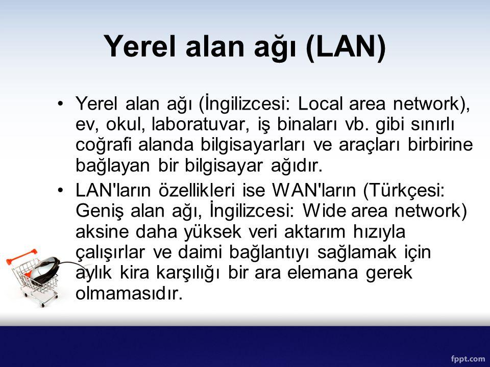Yerel alan ağı (LAN) Yerel alan ağı (İngilizcesi: Local area network), ev, okul, laboratuvar, iş binaları vb. gibi sınırlı coğrafi alanda bilgisayarla