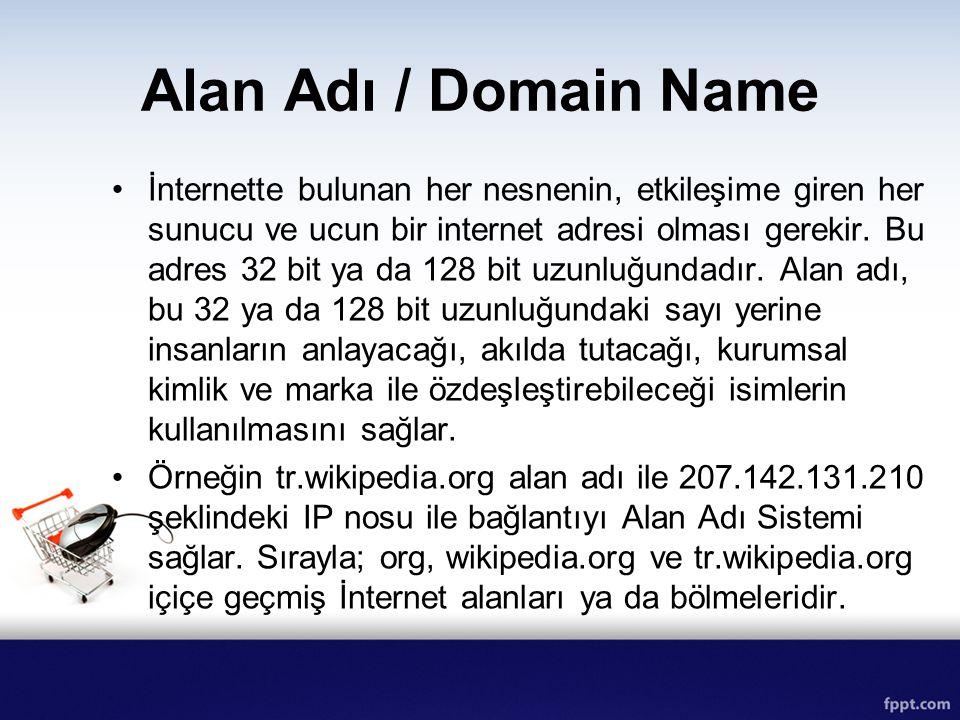 Alan Adı / Domain Name İnternette bulunan her nesnenin, etkileşime giren her sunucu ve ucun bir internet adresi olması gerekir. Bu adres 32 bit ya da