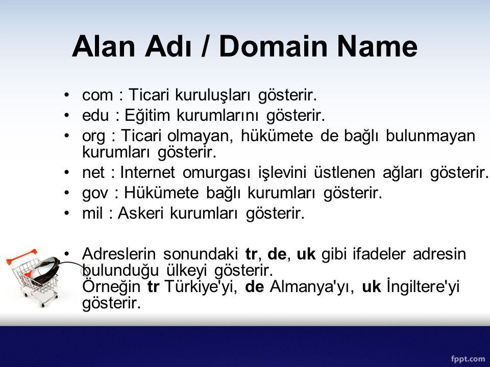 Alan Adı / Domain Name com : Ticari kuruluşları gösterir. edu : Eğitim kurumlarını gösterir. org : Ticari olmayan, hükümete de bağlı bulunmayan kuruml
