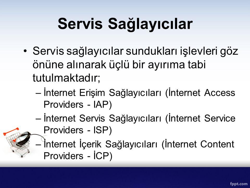 Servis Sağlayıcılar Servis sağlayıcılar sundukları işlevleri göz önüne alınarak üçlü bir ayırıma tabi tutulmaktadır; –İnternet Erişim Sağlayıcıları (İ