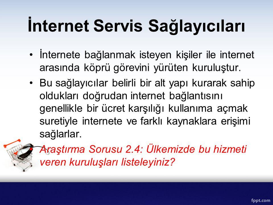 İnternet Servis Sağlayıcıları İnternete bağlanmak isteyen kişiler ile internet arasında köprü görevini yürüten kuruluştur. Bu sağlayıcılar belirli bir