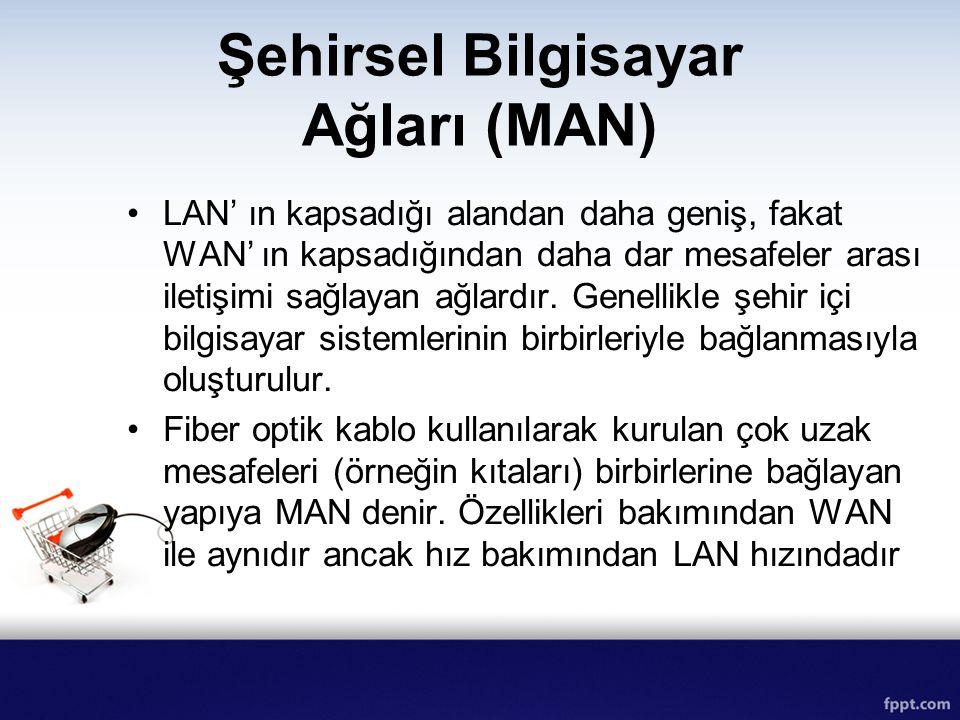 Şehirsel Bilgisayar Ağları (MAN) LAN' ın kapsadığı alandan daha geniş, fakat WAN' ın kapsadığından daha dar mesafeler arası iletişimi sağlayan ağlardı