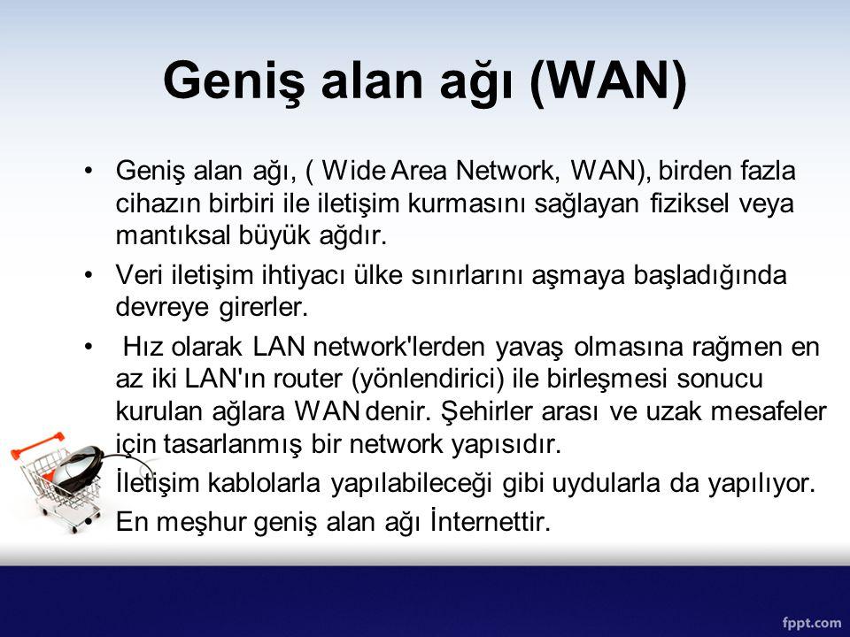 Geniş alan ağı (WAN) Geniş alan ağı, ( Wide Area Network, WAN), birden fazla cihazın birbiri ile iletişim kurmasını sağlayan fiziksel veya mantıksal b
