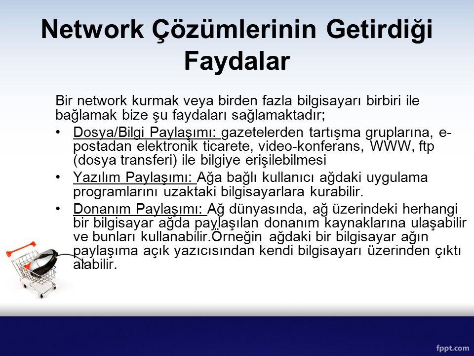 Network Çözümlerinin Getirdiği Faydalar Bir network kurmak veya birden fazla bilgisayarı birbiri ile bağlamak bize şu faydaları sağlamaktadır; Dosya/B
